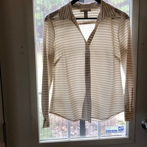 Tan and Cream striped Blouse